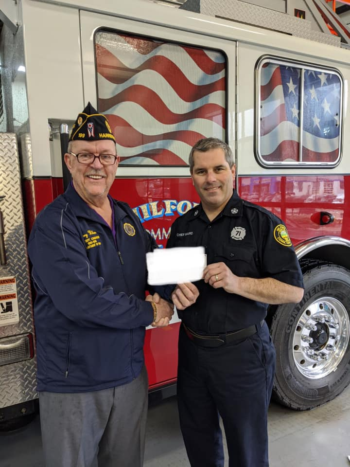 Milford Community Fire Department receives donation from Legion
